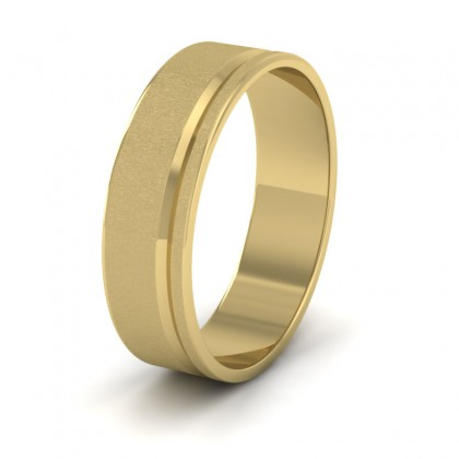 Assymetric Line Pattern 9ct Yellow Gold 6mm Flat Wedding Ring