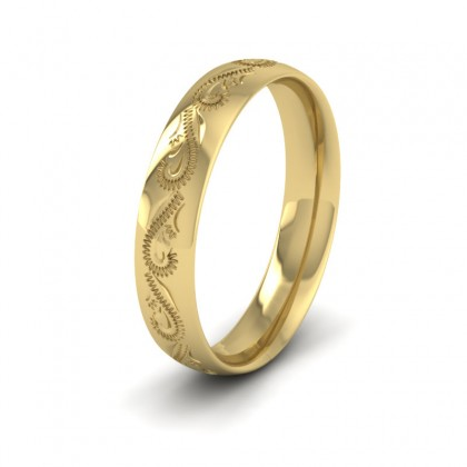 Engraved 9ct Yellow Gold 4mm Wedding Ring