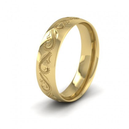 Engraved 9ct Yellow Gold 6mm Wedding Ring