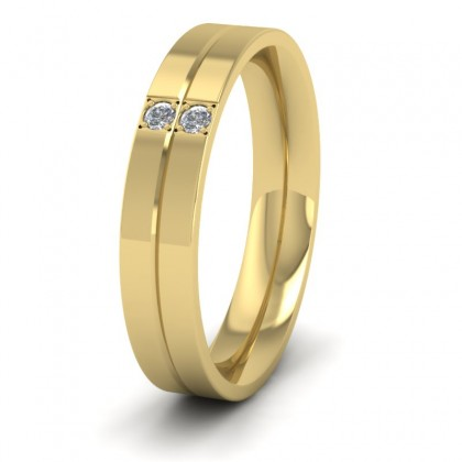Two Diamond And Line Pattern 9ct Yellow Gold 4mm Wedding Ring