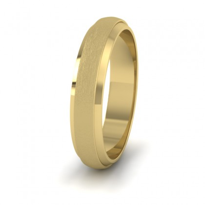 Flat Edge Patterned And Matt Finish 14ct Yellow Gold 4mm Wedding Ring