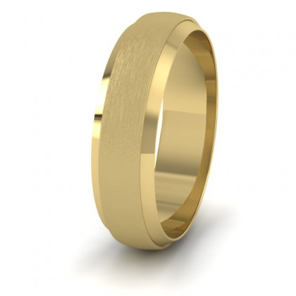 Flat Edge Patterned And Matt Finish 9ct Yellow Gold 6mm Wedding Ring