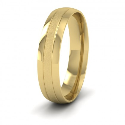 Line Pattern With Shiny And Matt Finish 9ct Yellow Gold 5mm Wedding Ring