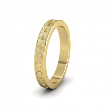 Raised Circle And Edge Patterned 18ct Yellow Gold 3mm Wedding Ring