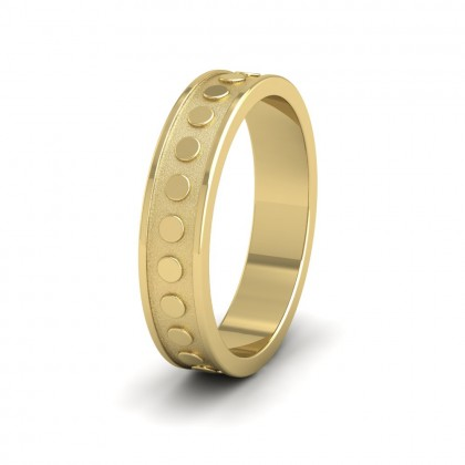 Raised Circle And Edge Patterned 9ct Yellow Gold 5mm Wedding Ring
