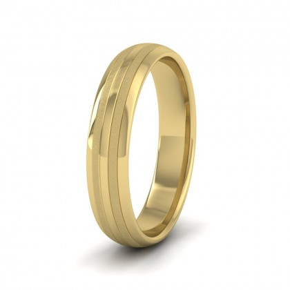 Four Line Pattern With Shiny And Matt Finish 14ct Yellow Gold 4mm Wedding Ring