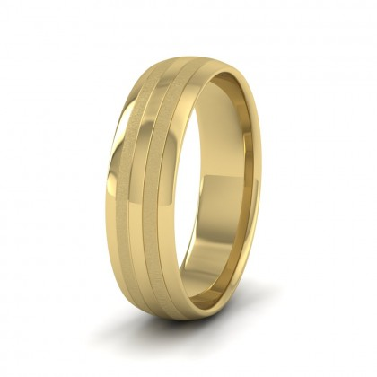 Four Line Pattern With Shiny And Matt Finish 9ct Yellow Gold 6mm Wedding Ring