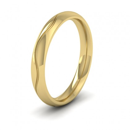 Wave Patterned 9ct Yellow Gold 3mm Wedding Ring