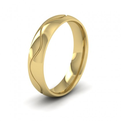 Wave Patterned 9ct Yellow Gold 5mm Wedding Ring