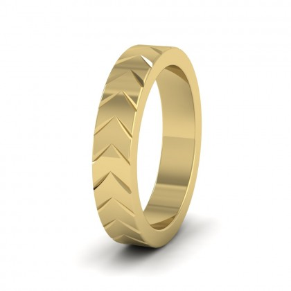 Chevron Pattern 14ct Yellow Gold 4mm Wedding Ring
