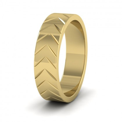 Chevron Pattern 9ct Yellow Gold 6mm Wedding Ring
