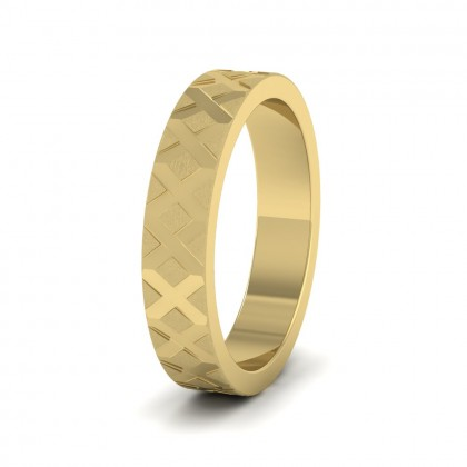 Cross Pattern 9ct Yellow Gold 4mm Wedding Ring