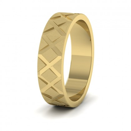 Cross Pattern 9ct Yellow Gold 6mm Wedding Ring