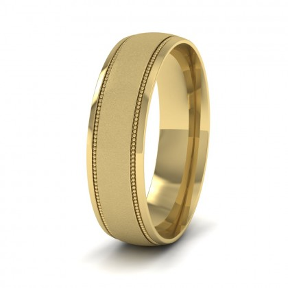 Millgrain And Contrasting Matt And Shiny Finish 9ct Yellow Gold 6mm Wedding Ring