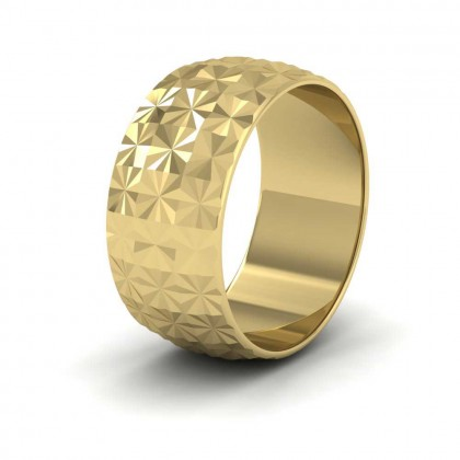 Pineapple Pattern 9ct Yellow Gold 10mm Wedding Ring