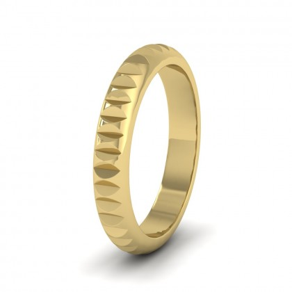 Cut Leaf Across Pattern 14ct Yellow Gold 3mm Wedding Ring