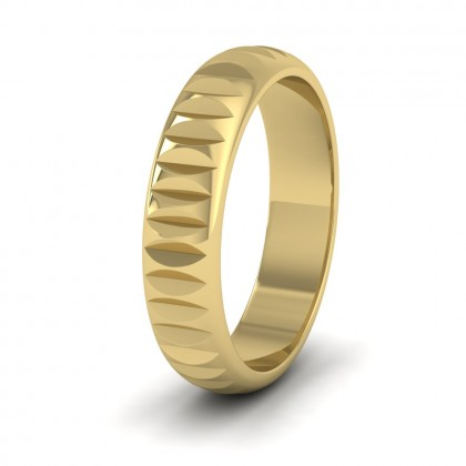 Cut Leaf Across Pattern 9ct Yellow Gold 5mm Wedding Ring