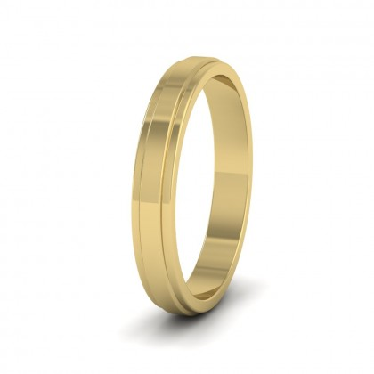 Stepped Edge Pattern Flat 14ct Yellow Gold 3mm Flat Wedding Ring