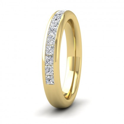 Princess Cut Diamond 0.75ct Half Channel Set Wedding Ring In 18ct Yellow Gold 3.5mm Wide