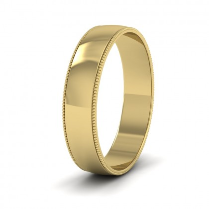Millgrained Edge 14ct Yellow Gold 5mm Wedding Ring