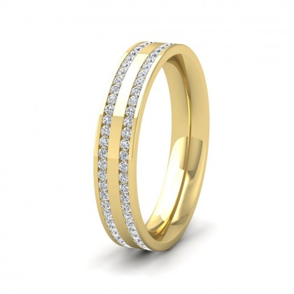 Two Row Full Channel 0.5ct Diamond Set 9ct Yellow Gold 4mm Ring