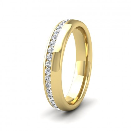 Assymetric Full Channel Set Diamond 9ct Yellow Gold 4mm Ring
