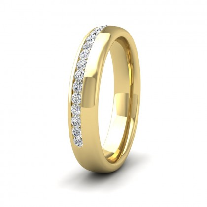 Assymetric Half Channel Set Diamond 9ct Yellow Gold 4mm Ring