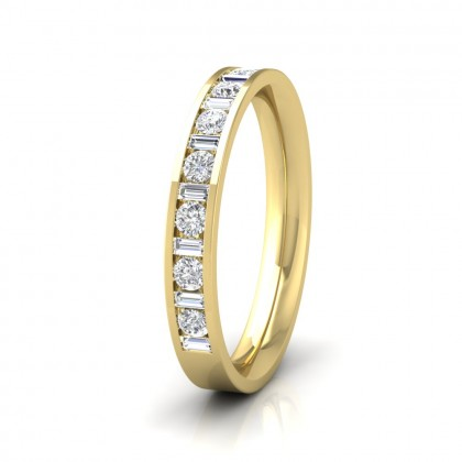 Channel Set Alternate Baguette And Round Diamond 9ct Yellow Gold 3mm Ring
