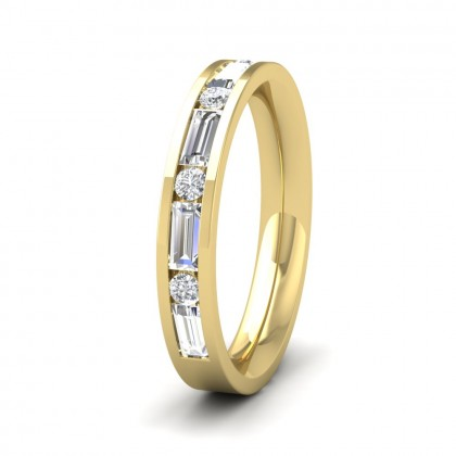 Channel Set Alternate Baguette And Round Diamond 18ct Yellow Gold 3.5mm Ring