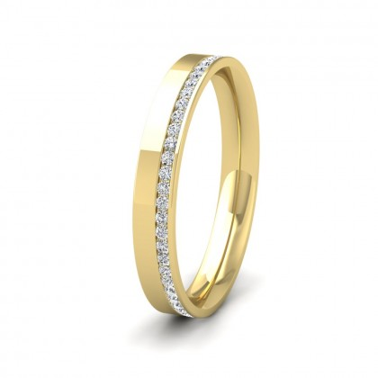 Assymetric Full Channel Set Diamond 9ct Yellow Gold 3mm Ring