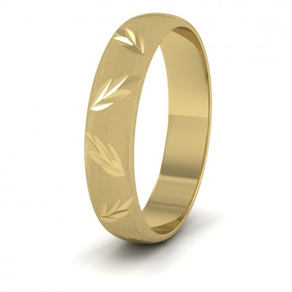 Leaf Cut Pattern 14ct Yellow Gold 4mm Wedding Ring