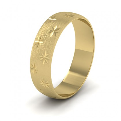Star Patterned 9ct Yellow Gold 6mm Wedding Ring