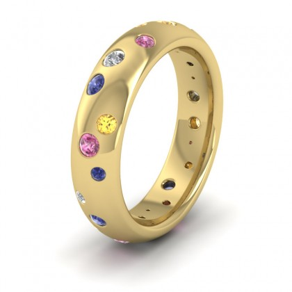 Diamond And Sapphire Set 9ct Yellow Gold 5mm Wedding Ring