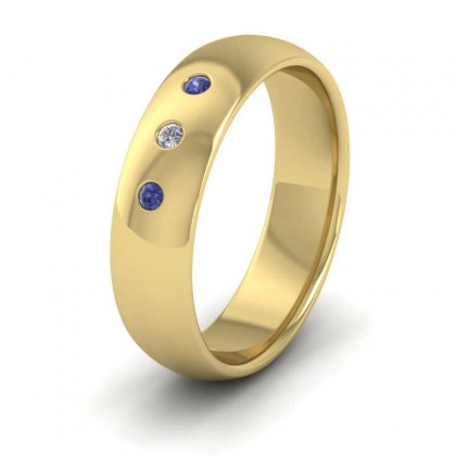 Blue Sapphire And Diamond Set 9ct Yellow Gold 6mm Wedding Ring