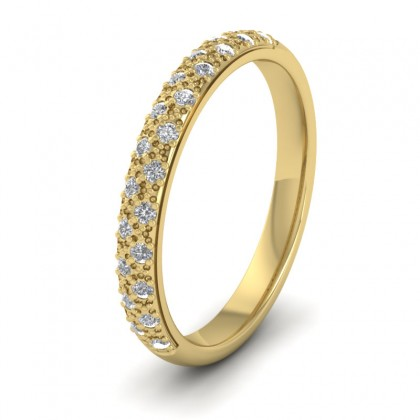 Pave Set Diamond (0.176ct) 9ct Yellow Gold 2.5mm Wedding Ring