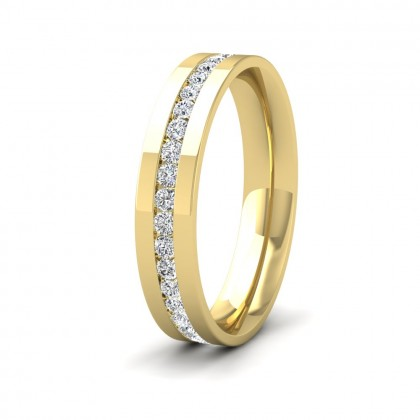 Full Channel Set Round Diamond (0.6ct) 9ct Yellow Gold Flat 4mm Ring