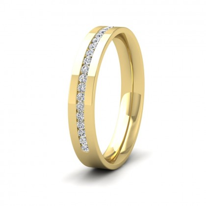 Channel Set Round Diamond (0.25ct) Half Set 9ct Yellow Gold Flat 3.5mm Ring