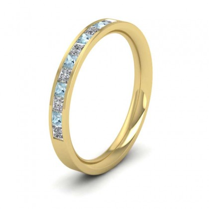 Channel Set Diamond And Aquamarine 9ct Yellow Gold 2.5mm Wedding Ring