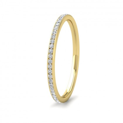 Full Channel Set 0.26ct Round Brilliant Cut Diamond 9ct Yellow Gold 1.5mm Ring