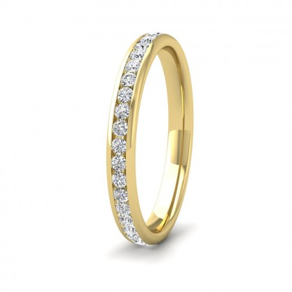 Full Channel Set 0.48ct Round Brilliant Cut Diamond 9ct Yellow Gold 2.5mm Ring