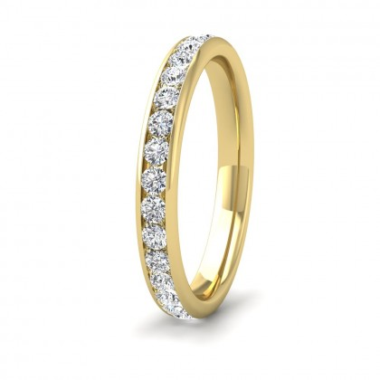 Full Channel Set 0.7ct Round Brilliant Cut Diamond 9ct Yellow Gold 2.75mm Ring