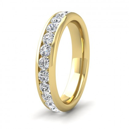 Full Channel Set 1.56ct Round Brilliant Cut Diamond 18ct Yellow Gold 4mm Ring