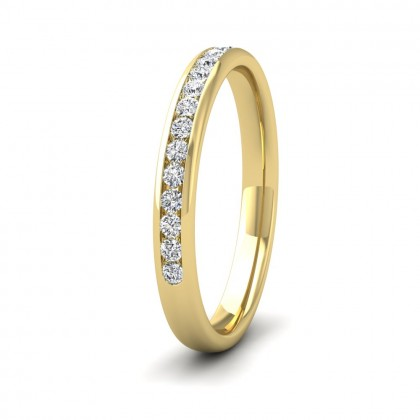 Half Channel Set 0.24ct Round Brilliant Cut Diamond 18ct Yellow Gold 2.5mm Ring