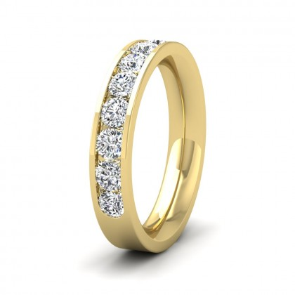Half Channel Set 1ct Round Brilliant Cut Diamond 18ct Yellow Gold 4mm Ring