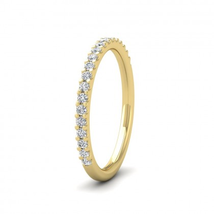 Round Claw 0.25ct Half Diamond Set 9ct Yellow Gold 2mm Ring