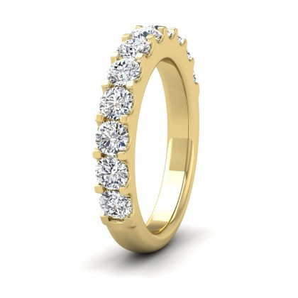 Round Claw 1.00ct Half Diamond Set 18ct Yellow Gold 3.5mm Ring