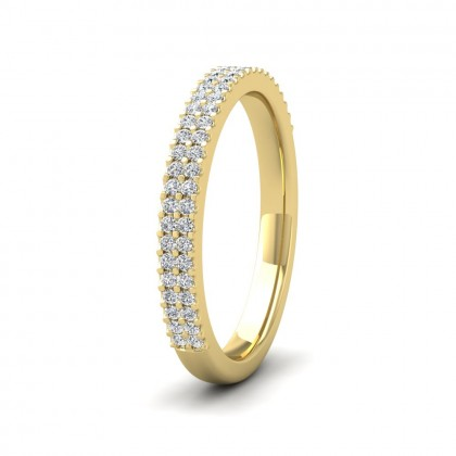 Two Row Round Claw 0.28ct Half Diamond Set 18ct Yellow Gold 2.5mm Ring
