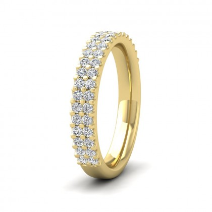 Two Row Round Claw 0.5ct Half Diamond Set 9ct Yellow Gold 3.5mm Ring