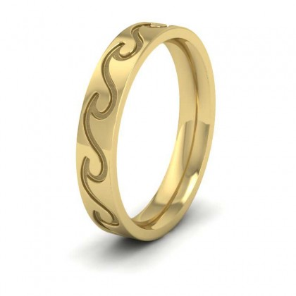 Wave Pattern 9ct Yellow Gold 4mm Wedding Ring