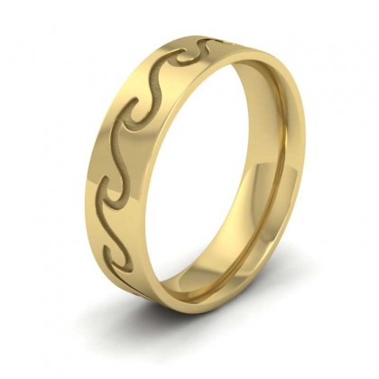 Wave Pattern 22ct Yellow Gold 6mm Wedding Ring